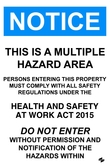 Multiple Hazard Area Sign