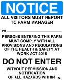 Visitors Must Report To Farm Manager Sign